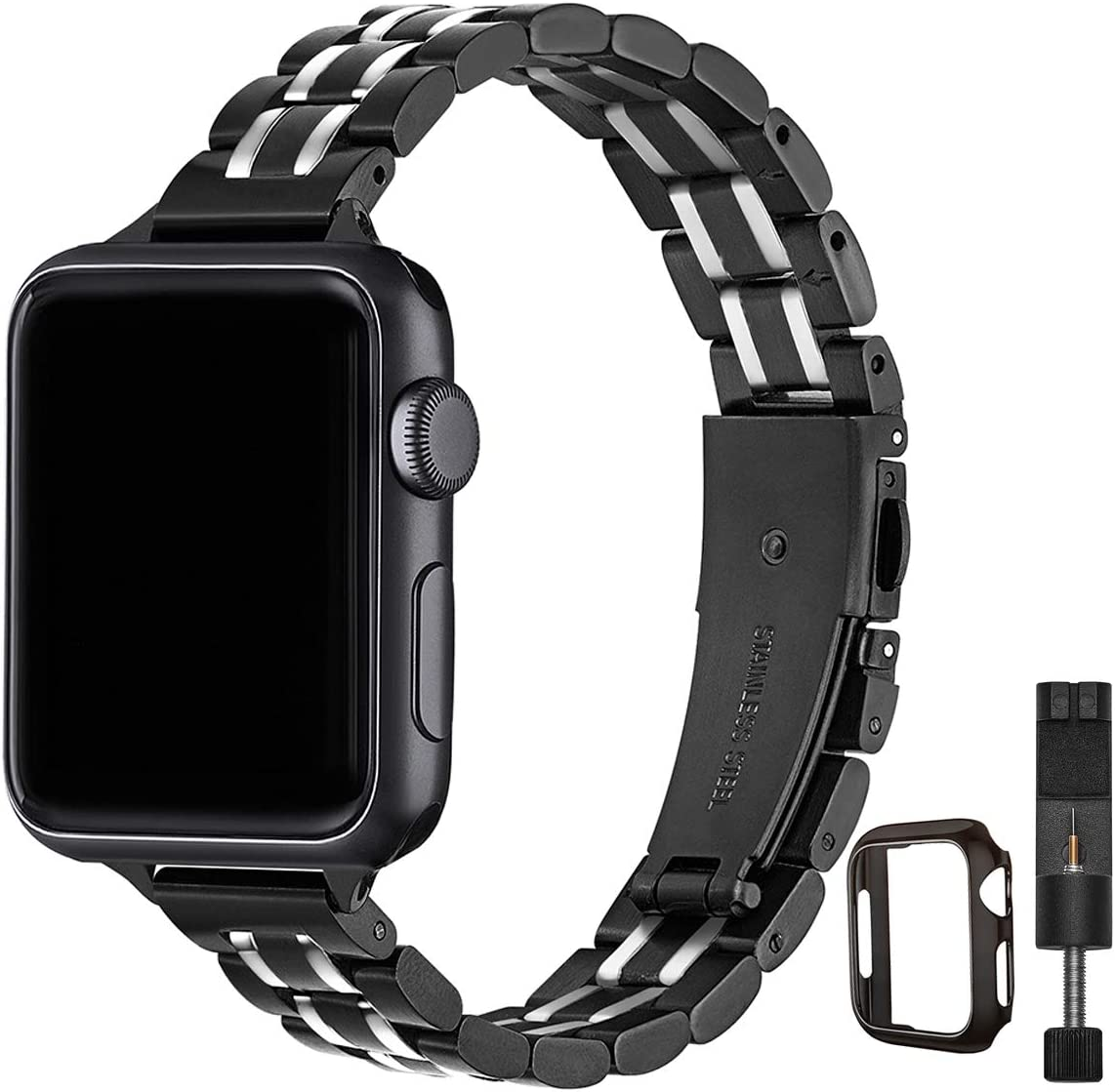 STIROLL Thin Replacement Band Compatible for Apple Watch 38mm 40mm 42mm 44mm, Stainless Steel Metal Wristband Women Men for iWatch SE Series 6/5/4/3/2/1 (Black+Silver, 42mm/44mm)