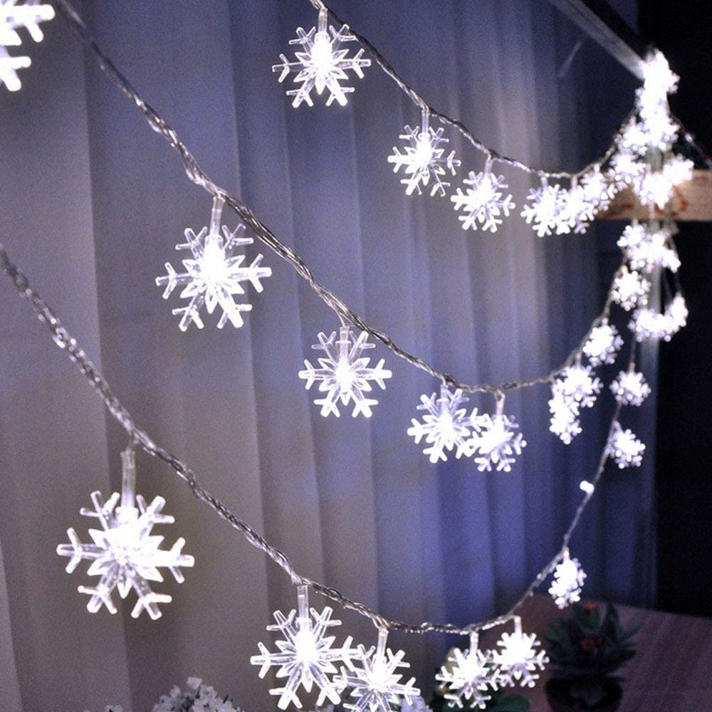 WesGen Christmas Lights,Snowflake String Lights Battery Operated Waterproof 20ft, 40 LED Fairy Lights for Xmas Garden Patio Bedroom Party Decor Christmas Decorations, White
