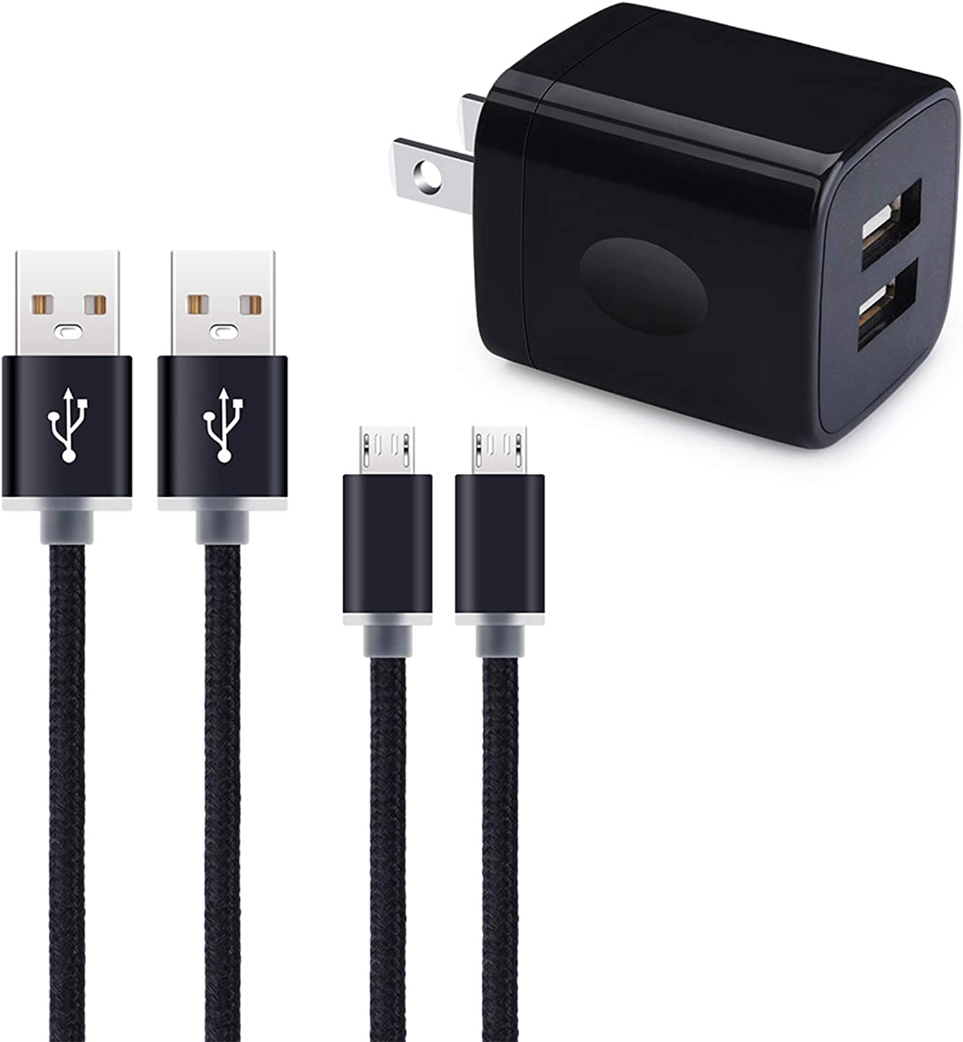 Micro USB Wall Charger, Hootek Micro USB Cable 6ft Android Phone Cord with Dual Port USB Charger Plug Charging Block for Samsung Galaxy S7 S6 J8 J7 J6 J5, LG K50 K40 K30 K20, Stylo 3 2, Moto E6s E5 G5