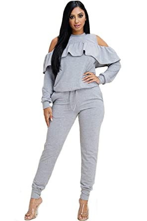 2dbdc2aaa418 Women's 2 Piece Outfits Off The Shoulders Top and Long Pant Sweat Suit Set  with Pockets