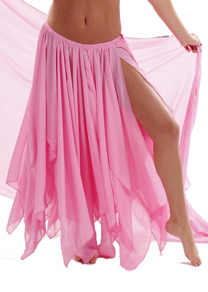 BELLY DANCE ACCESSORIES 13 PANEL CHIFFON SKIRT Pink One Size by Miss Belly Dance