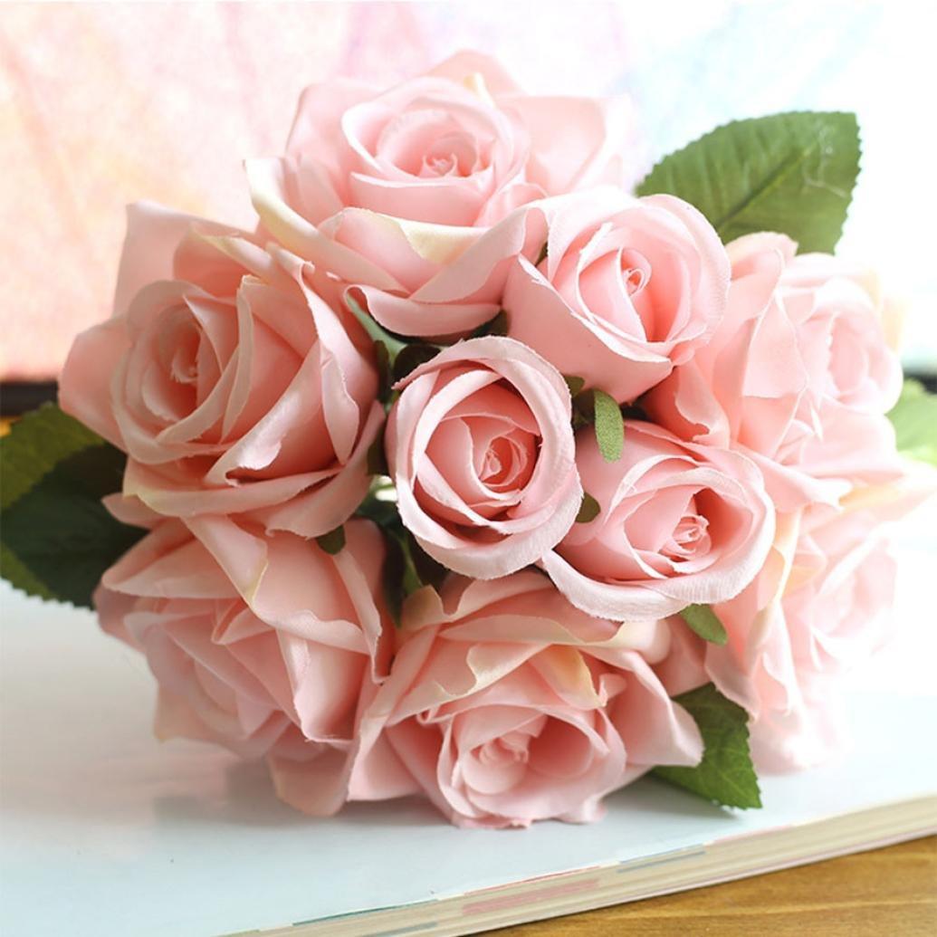 YJYdada-9-Heads-Artificial-Silk-Fake-Flowers-Leaf-Rose-Wedding-Floral-Decor-Bouquet-F