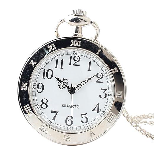 joielavie Reloj de Bolsillo Simple Número Romano diseño Floral Decorado sin Tapa Collar aleación Plata Reloj Bolsillo clásico Regalo Hombre Mujer # a: ...
