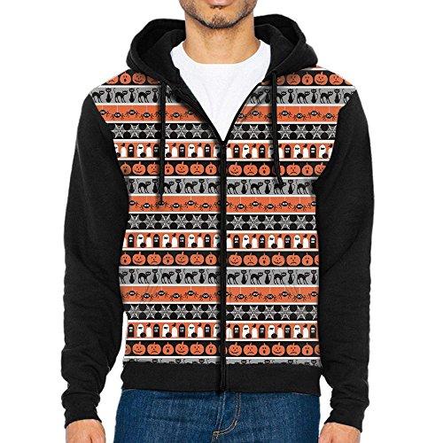 Men's Halloween Ghost Pumpkin Bat Casual Pocket Sweatshirt Full Zip Hoodie Crew Hooded Shirts Athletic Sportwear -