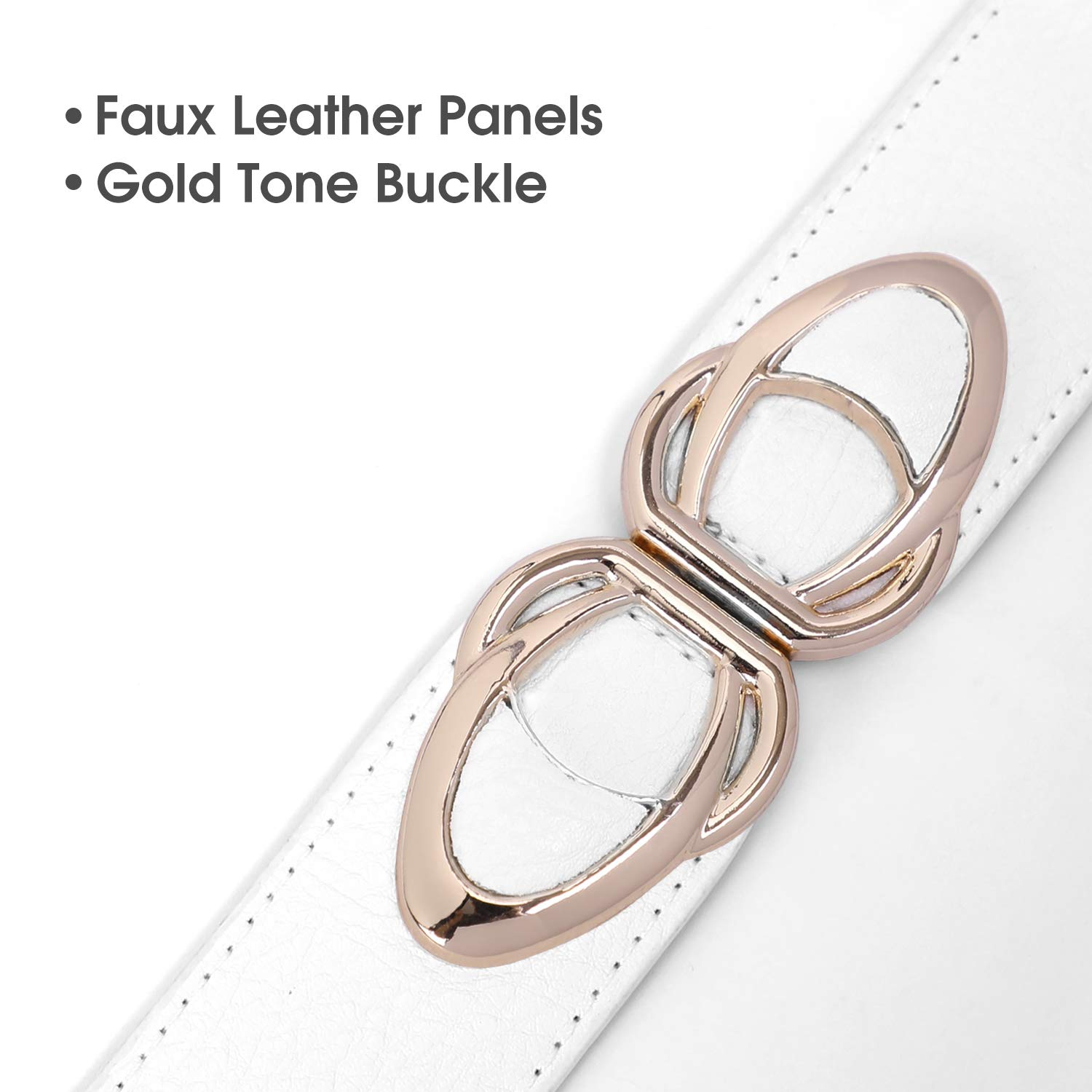 Women Wide Elastic Stretchy Belt - WHIPPY Stretch Retro Vintage Buckle Waist Belts for Dress White, Fit Waist 35-40 Inches