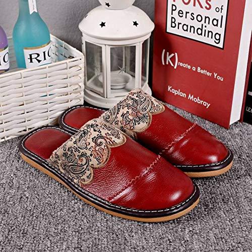 Da Casa Baotou Lianaio Uomo Scarpe 37 40 E Pelle Fondo 41 38 Calda Coperta Donna In Adatto Autunno Pantofole Cotone Gomma Di Primavera Per Inverno Calde qqpTYIw