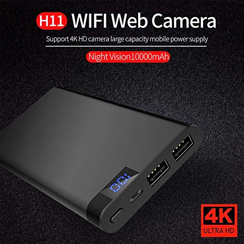 Power Bank Hidden Camera H11 4K Battery 10000mah HD 1080P IP DVR Video Recorder Spy with Motion Detection, Night Vision, Nanny Cam for Baby and Pet Monitoring Home Security Cellphone Charger