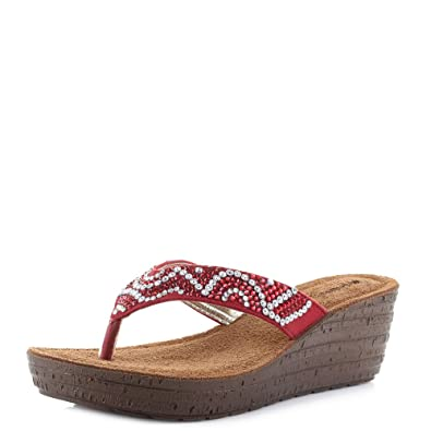82e22cbd78ee INBLU Womens Gm-21 Red Wedge Heel Comfort Embellished Sandals Size 3.5