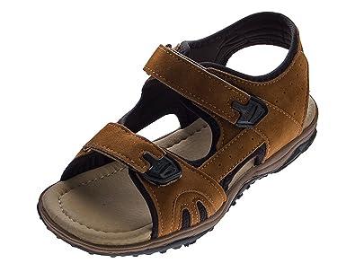Sandalen Braun Flexibel Leder Und 2 Klettverschlüsse Herren Decksohle Schuhe Leicht Sandaletten I9ED2H