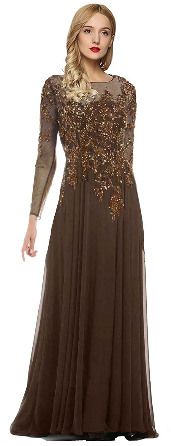 Brown Meier Women's Starlit Beaded Long Sleeve Mother of The Bride Evening Gown