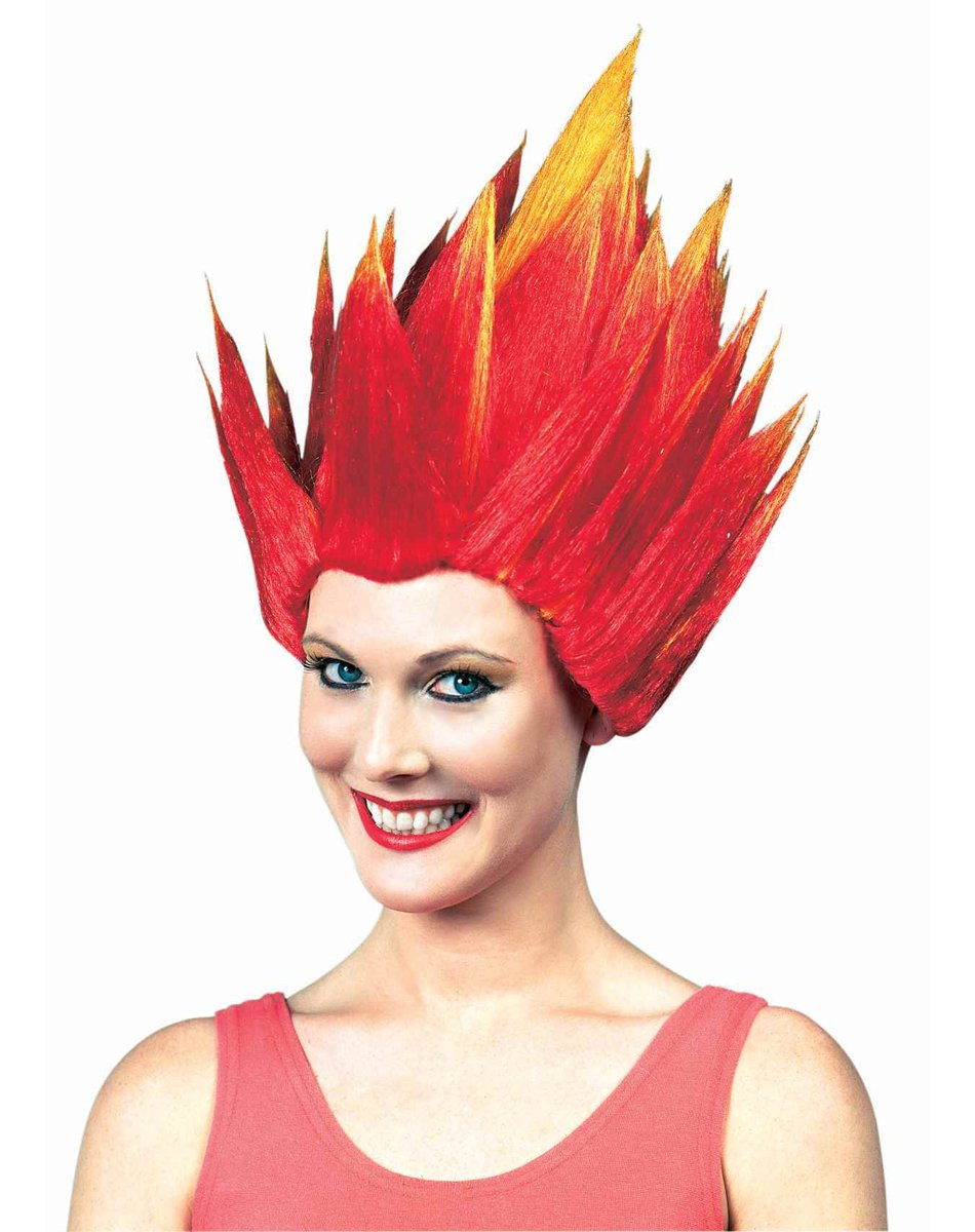 Red and Orange Spiked Flame Wig - Hair Fire Wig