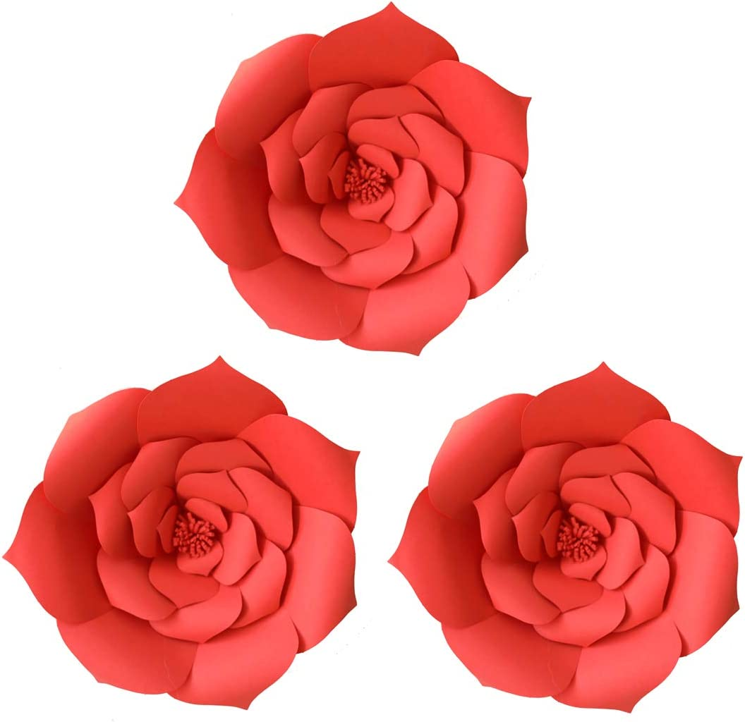 Daily Mall Paper Flower Decorations Giant Wedding Flowers Party Flower Backdrop DIY Handcrafted Flower for Nursey Birthday Wall Decor (Red, 3pcs-12'')