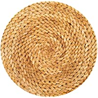 MAXYOYO Round Area Rug Circle Rug, 3D Printed Twist Rope Rug Braid Rug, Yellow Rug for Living Room Bedroom, Non-slip Decoration Floor Mat, Diameter 71 Inch
