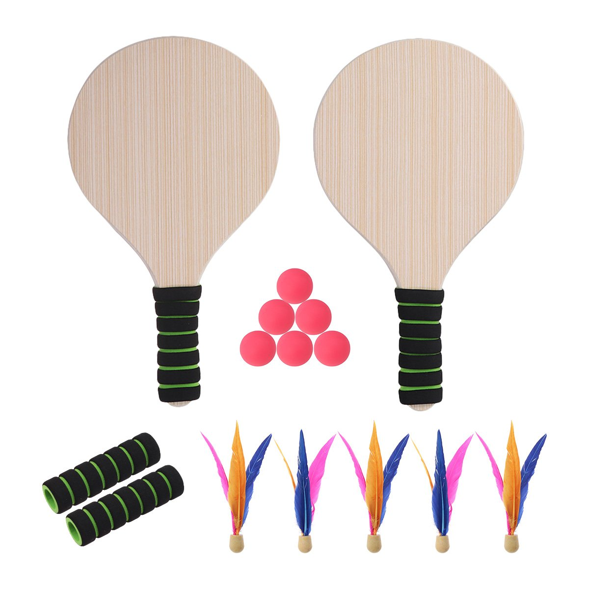 VORCOOL Paddle Ball Racket Game Set Beach Paddle Ball Set Beach Tennis Beach Ball Racket for Kid Adult Indoor Outdoor Game Toys