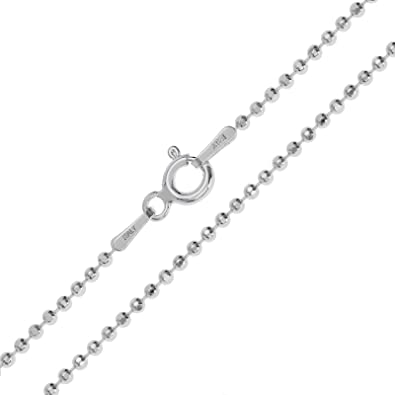 925 Sterling Silver Bead Ball Chain 1.5mm Width Available 14