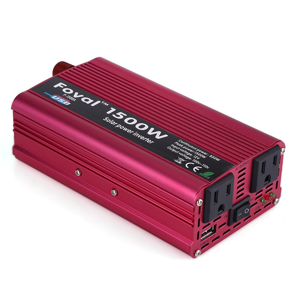 Car Power Inverter Converter, 1500W/2000W USB Charger Adapter (1500W DC 12V to AC 110V) Walfront