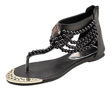 Damen Sommer Strandschuhe Hochzeitsschuhe Böhmische Stil Schuhe Strass Flip Flops Peep Toe Flache Sandalen Pink EU 39 ahqgp