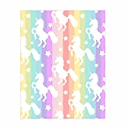 QH 58 x 80 Inch Rainbow Unicorn Pattern Super Soft Throw Blanket for Bed Couch Sofa Lightweight Travelling Camping Throw Size for Kids Adults All Season