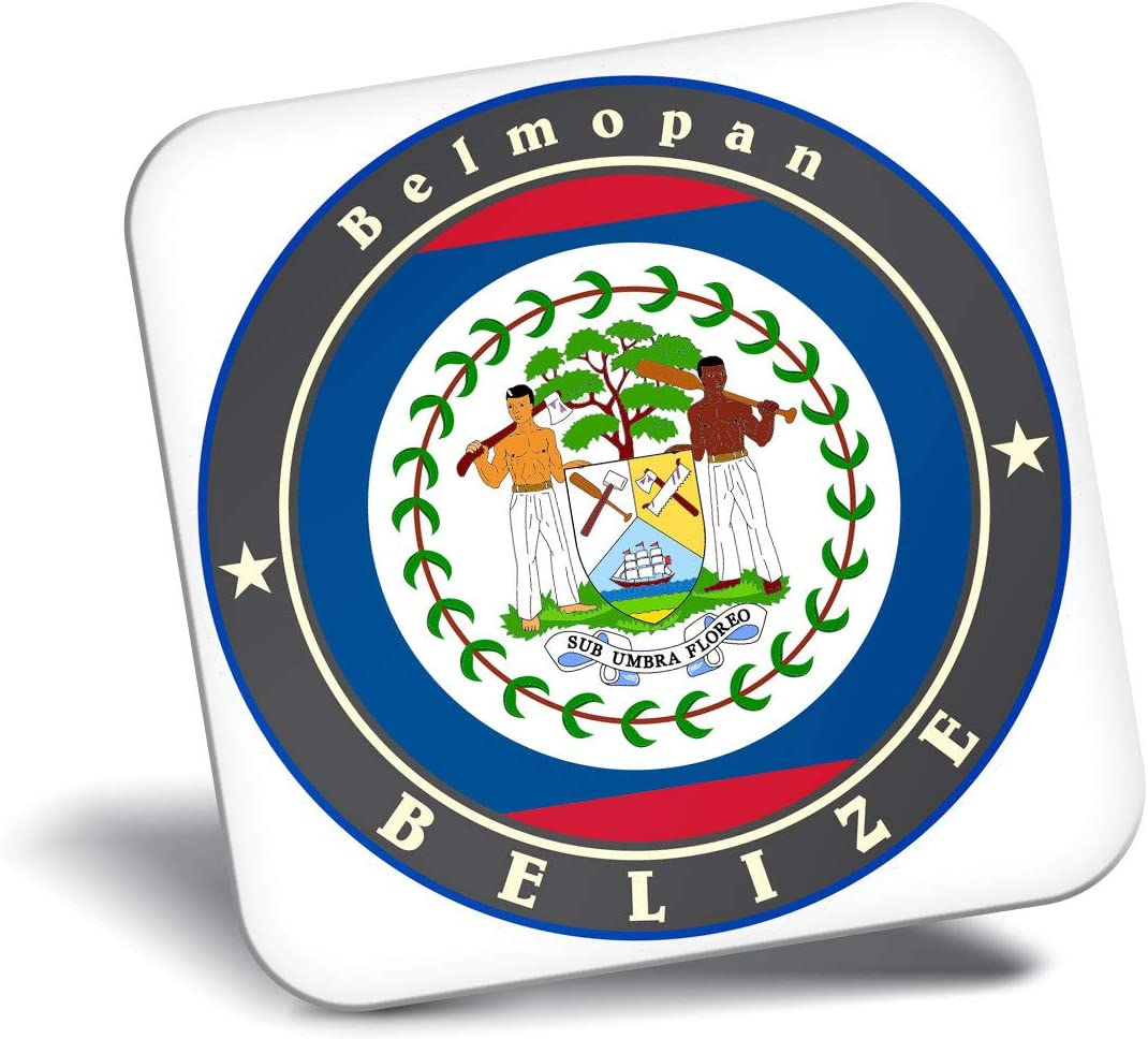 Destination Vinyl ltd Awesome Fridge Magnet - Belize Royal Blue Flag Travel 9239