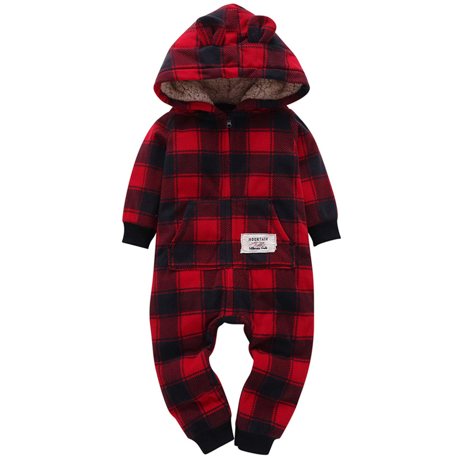 Baby Boys Girls Christmas Outfit Long Sleeved Zip-up Hooded Romper Playsuit Jumpsuit Winter Clothes Set for Infant