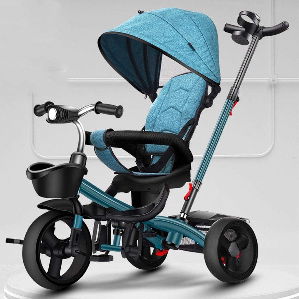 Jixi Triciclo de niños Plegable Portátil Bicicleta de niño con Pedal Carretilla Ajustable Asiento Giratorio del Marco de Almacenamiento Toldo (Color : Blue)