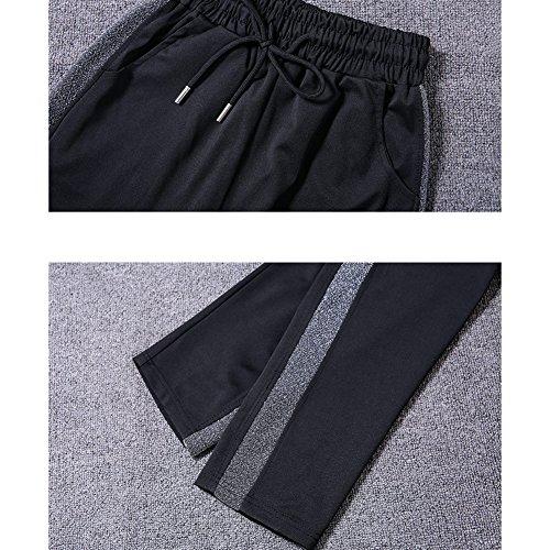Elegantstunning Noir Été Pour Printemps Automne Femmes Loose Mode Et Casual Respirant Pantalon Rayé Étudiants En Argent xTHxRqv