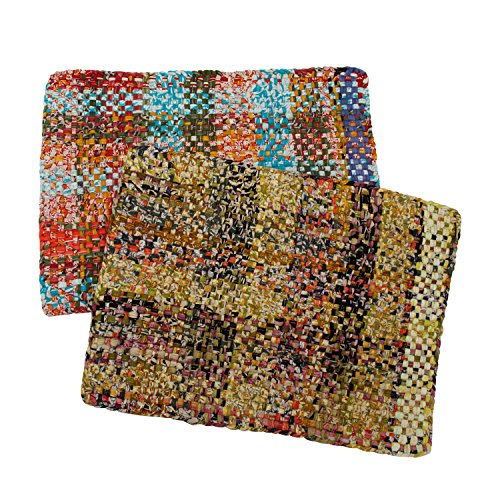 Multicolored Rectangular Recycled Sari Placemats 'Woven Rainbow Placemat Set'