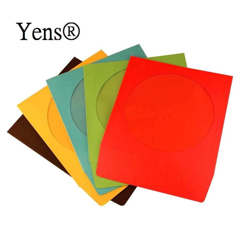Yens 100 pack premium assorted full color paper cd for 100 paper cd sleeves with window flap