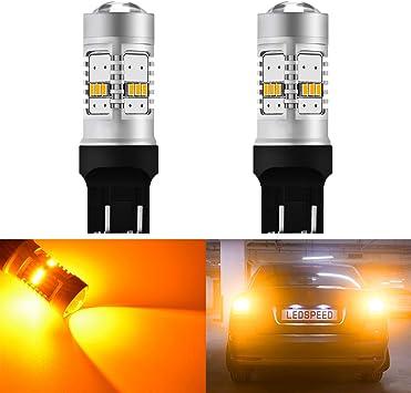 Pack of 2 KaTur 1800LM Amber 7443 7444NA LED Replacement Bulb 14SMD CREE 3020 RV Camper SUV MPV Car Turn Signal Bulbs Tail Brake Light Lamp Backup Lamps