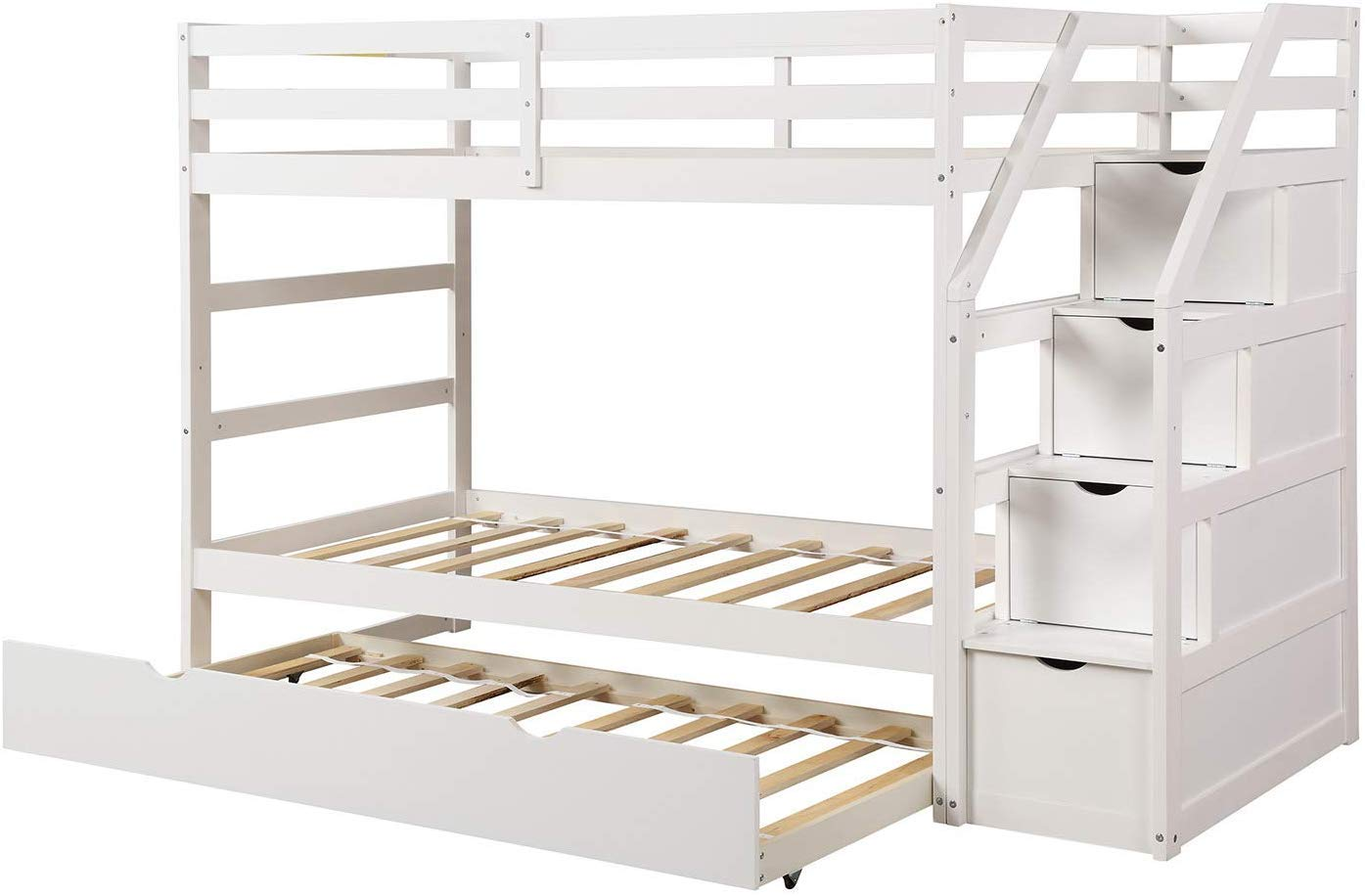 MIERES Solid Wood Hardwood Twin Over Two Bunk Frame with Staircase and 4 Storage Drawers Natural Finish Bed, White