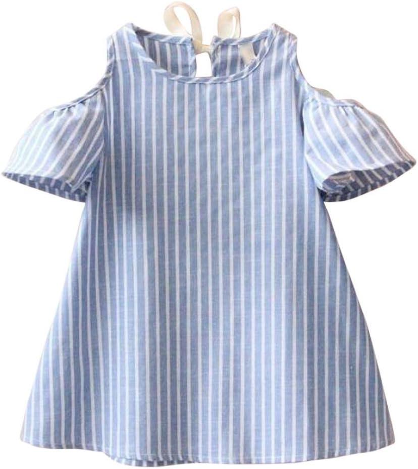 2018Baby Girls Princess Short Sleeve Striped Dresses Boomboom Baby Girls Summer Dress 7//8T, Blue