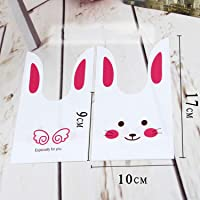 100pcs Cute Rabbit Cookies Bags Party Bag Candy Bag Plastic Wedding Party Birthday Package Bag 10 * 17cm(3.94 * 6.69…