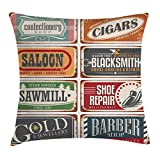 Ambesonne Vintage Decor Throw Pillow Cushion Cover by, Dated Antique Old Shop Store Label Icons Manufacturing Commercials Textured Design, Decorative Square Accent Pillow Case, 16 X 16 Inches, Multi