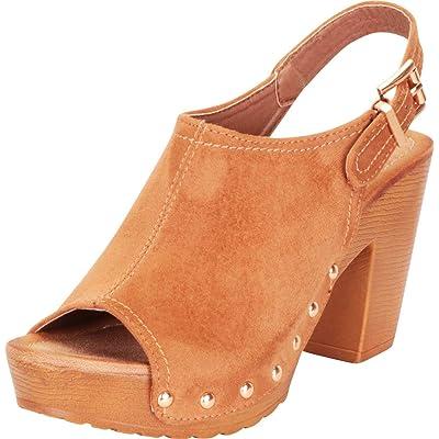 Cambridge Select Women's Retro 70s Open Toe Studded Clog Chunky Platform Block Heel Sandal   Shoes