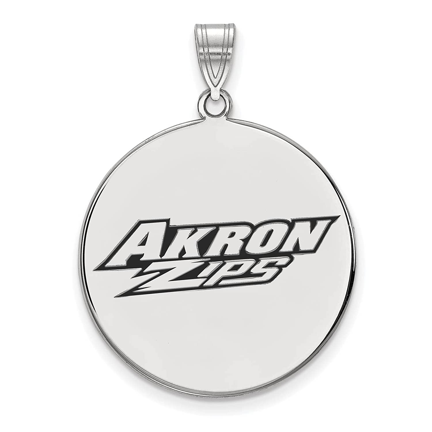 925 Sterling Silver Rhodium-plated Laser-cut Univeristy of Akron XL Enameled Disc Pendant