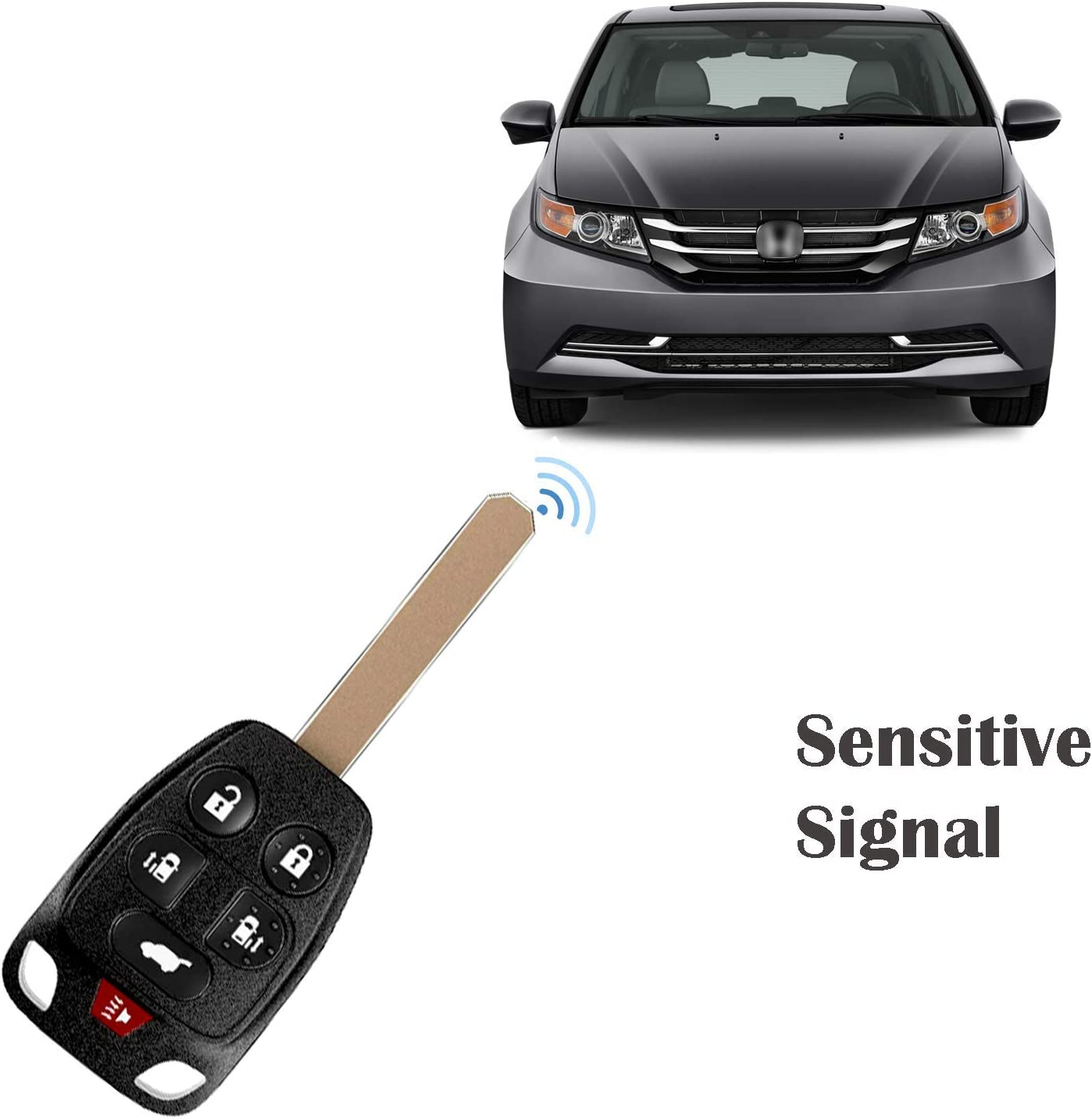 FCC ID: N5F-A04TAA RDBS 6-Buttons Replacement Car Key Fob Entry Remote Fit for Honda Odyssey 2011 2012 2013
