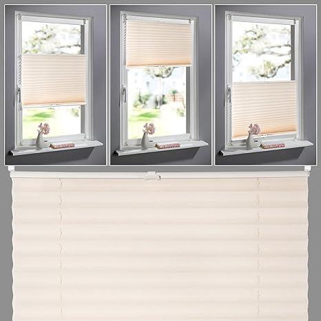 KINLO Faltrollo Rollo Sonnenschutzrollo Klemmfix ohne Bohren für Fenster Tür 100x130cm Verdunkelungsrollos Plissees Jalousien