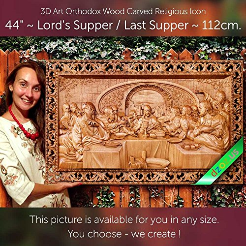 44'' Lord`s Supper / Last Supper 112cm Wood carved 3D painting icon orthodox art by Wood Carving Dzoz