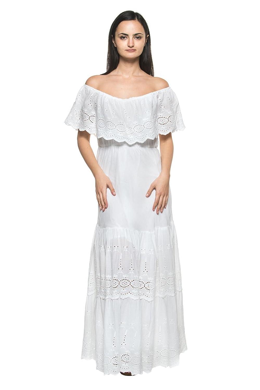 Women\'s White Eyelet Ruffle Off Shoulder Mexican Peasant Boho Long ...