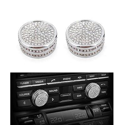 Thor-Ind Centre Console Sound Volume Knob Diamond Cover for Porsche Panamera Cayenne Macan Boxster Cayman 911 718 Car Interior Multimedia Volume Knob Decorative Ring Cover Trim (Volume Knob-Bling): Automotive