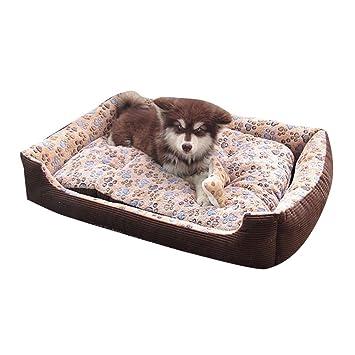 Cama Para Perro Lavable con Almohadas de Felpa Reversibles Cesta Rectangular Para Mascotas Colchoneta para Medianos Y Pequeños Cachorros o Gatos Café: ...