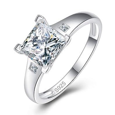 Bonlavie Womens Ring 925 Sterling Silver 3 Stone Brilliant