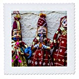3dRose Danita Delimont - Markets - Jaisalmer, Rajasthan, India. Mughal paper mache dolls and puppets. - 8x8 inch quilt square (qs_257187_3)