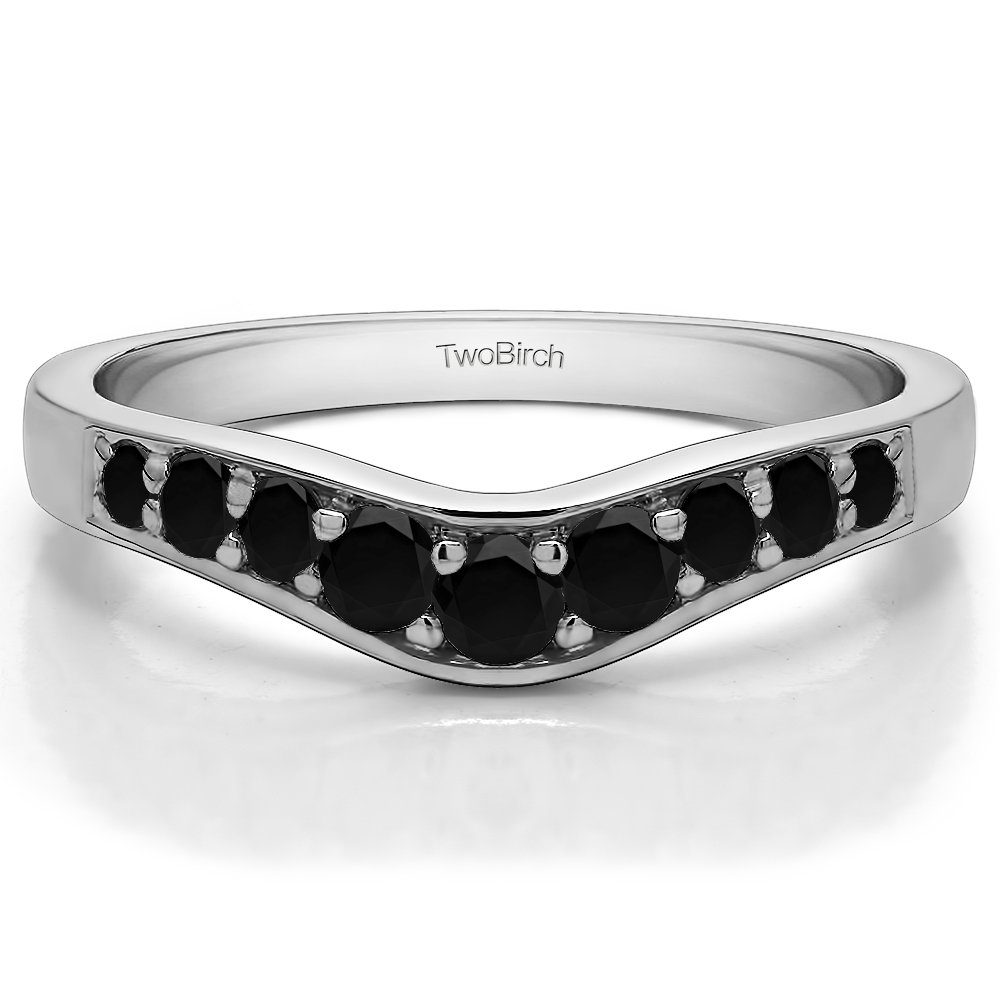 Black/&White CZ Graduated Contour Wedding Ring in Sterling Silver Size 3 to 15 in 1//4 Size Interval 0.35Ct