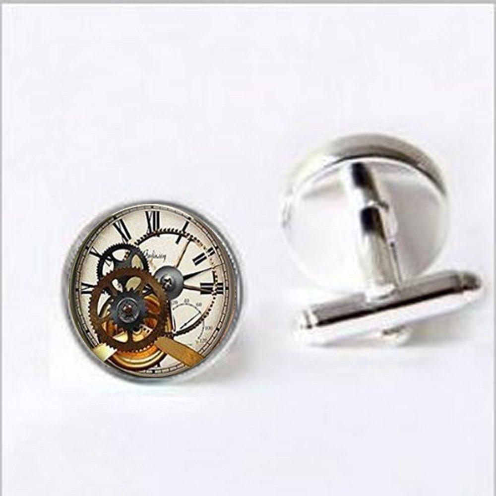 Steampunk Horloge Boutons de manchette Steampunk Horloge et chronomètre cadeaux pour lui Steampunk Bijoux Boutons de manchette Art cadeaux pour elle