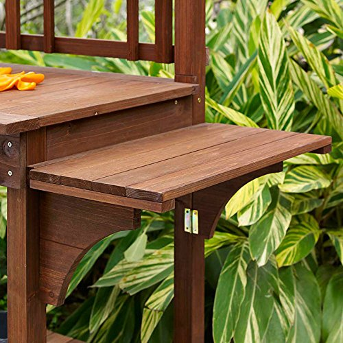 Garden Potting Bench with Storage Shelf Wood Outdoor Large Work Table plans Gardening Planting Station- Brown by Coral Coast (Image #4)