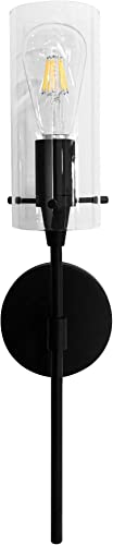 MONKFISH WS36 Wall Sconce 1-Light with Clear Glass Shade Modern Minimalist Lamp Fixture for Bathroom Bedroom Stair Cafe, UL Listed Black