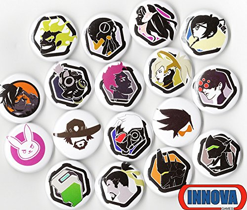 "OVERWATCH BUTTON PACK (6 RANDOM BUTTONS) 1"" INCH PIN BACK TRACER REAPER VIDEO GAMES"