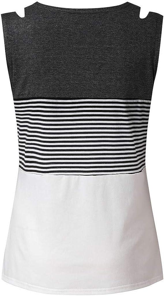 Dainzuy Tank Tops for Women,Triple Color Block Stripe T Shirt Sleeveless Round Neck Casual Loose Tunic Cami Shirt