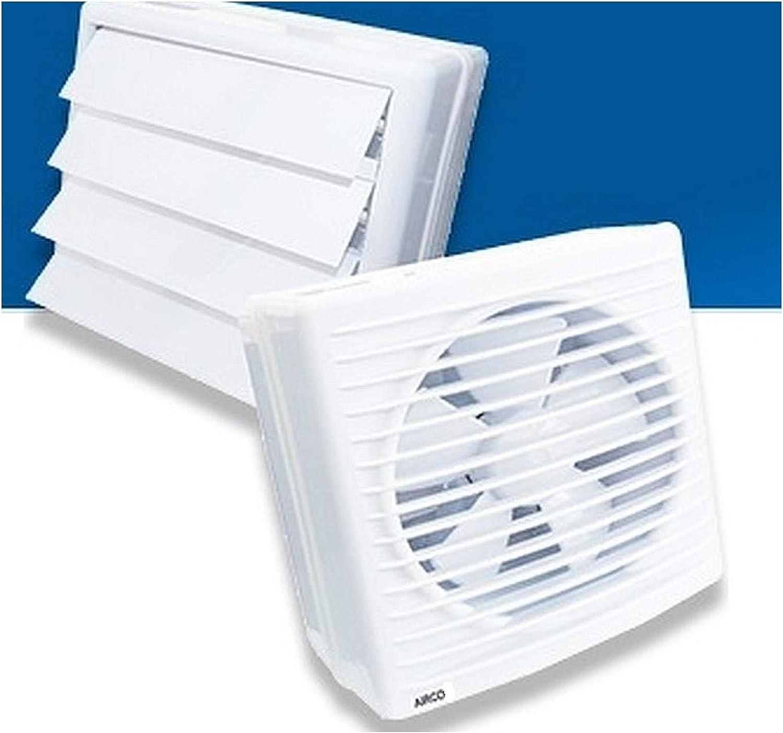 150 mm ventilador de pared y ventana, AirCo de 150 Automatic Shutter con tapa de cierre, eléctrica ventiladores Extracción pared axial baño Cocina Extractor aspiración